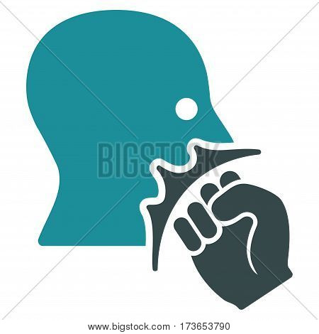 Face Violence Strike vector icon. Flat bicolor soft blue symbol. Pictogram is isolated on a white background. Designed for web and software interfaces.
