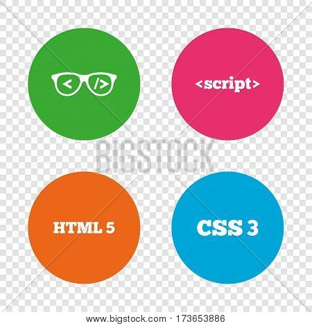 Programmer coder glasses icon. HTML5 markup language and CSS3 cascading style sheets sign symbols. Round buttons on transparent background. Vector