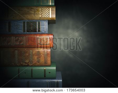 Vintage books on old  black dirty background. 3d illustration