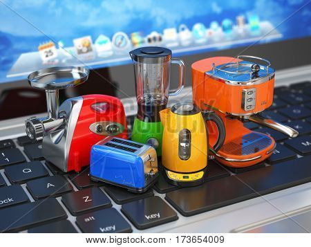 E-commerce, online shopping  and delivery concept. Home kitchen appliances on computer laptop keyboard. 3d illustration
