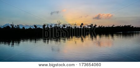 A landscape as the first light appear over the Florida Intracoastal Waterway