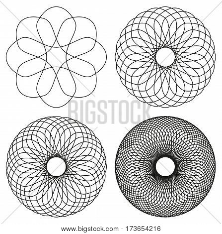 Collection of 4 black line spirograph abstract elements - 4 different geometric ornaments flower like symmetry isolated on white