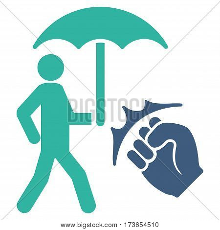 Crime Coverage vector icon. Flat bicolor cobalt and cyan symbol. Pictogram is isolated on a white background. Designed for web and software interfaces.