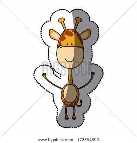 colorful sticker girafe icon, vector illustraction design image