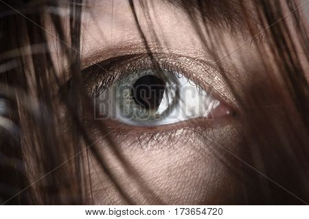 female eye looking at camera through black hair closeup image