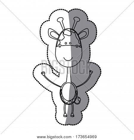 contour sticker girafe icon, vector illustraction design image