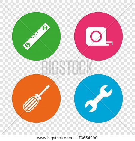 Screwdriver and wrench key tool icons. Bubble level and tape measure roulette sign symbols. Round buttons on transparent background. Vector