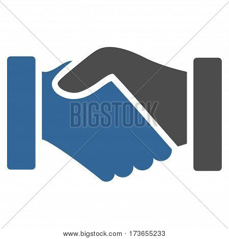 Acquisition Handshake vector icon. Flat bicolor cobalt and gray symbol. Pictogram is isolated on a white background. Designed for web and software interfaces.