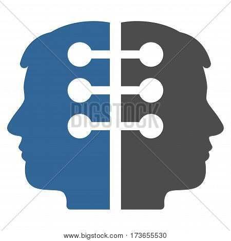 Dual Head Interface vector icon. Flat bicolor cobalt and gray symbol. Pictogram is isolated on a white background. Designed for web and software interfaces.