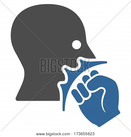 Face Violence Strike vector icon. Flat bicolor cobalt and gray symbol. Pictogram is isolated on a white background. Designed for web and software interfaces.