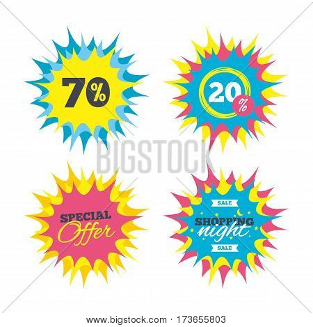 Shopping offers, special offer banners. 70 percent discount sign icon. Sale symbol. Special offer label. Discount star label. Vector
