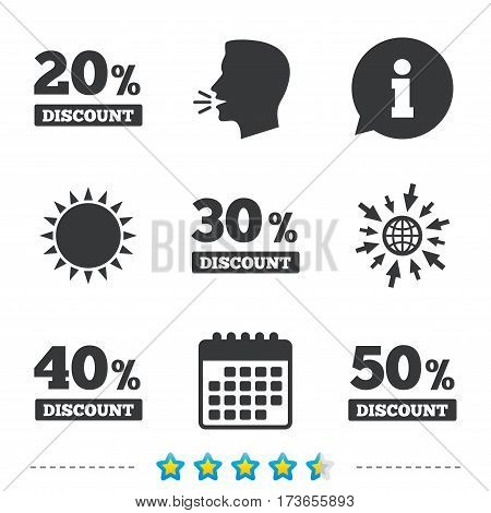 Sale discount icons. Special offer price signs. 20, 30, 40 and 50 percent off reduction symbols. Information, go to web and calendar icons. Sun and loud speak symbol. Vector