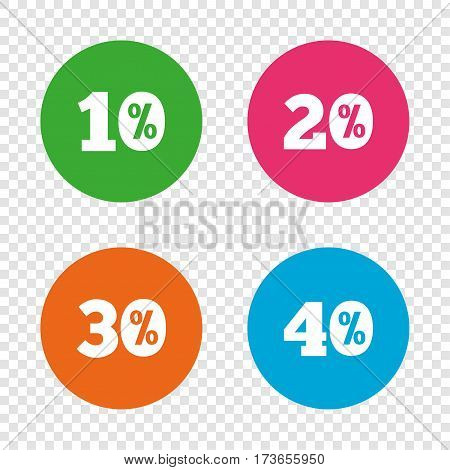 Sale discount icons. Special offer price signs. 10, 20, 30 and 40 percent off reduction symbols. Round buttons on transparent background. Vector
