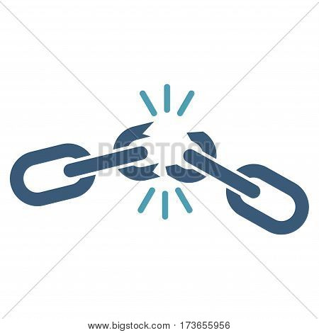 Chain Damage vector icon. Flat bicolor cyan and blue symbol. Pictogram is isolated on a white background. Designed for web and software interfaces.