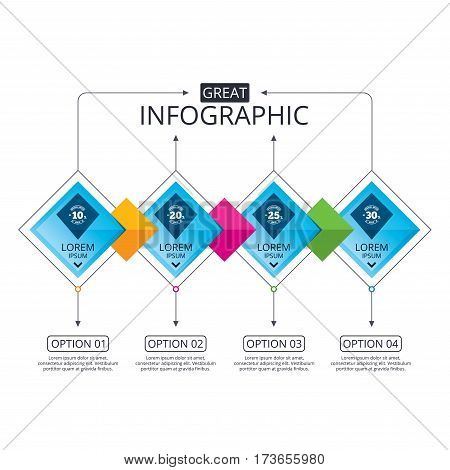 Infographic flowchart template. Business diagram with options. Sale discount icons. Special offer stamp price signs. 10, 20, 25 and 30 percent off reduction symbols. Timeline steps. Vector