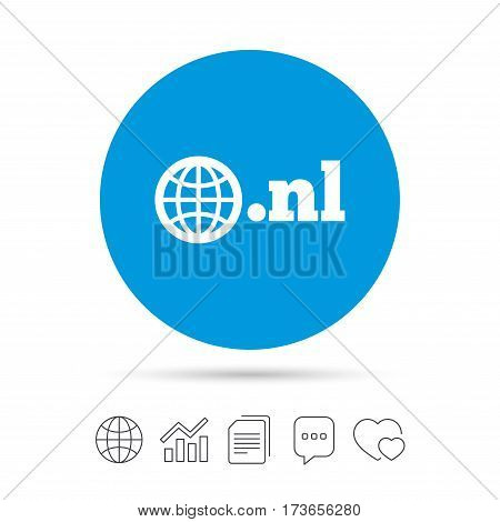 Domain NL sign icon. Top-level internet domain symbol with globe. Copy files, chat speech bubble and chart web icons. Vector
