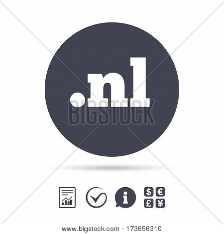 Domain NL sign icon. Top-level internet domain symbol. Report document, information and check tick icons. Currency exchange. Vector