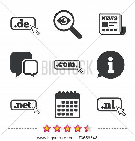 Top-level internet domain icons. De, Com, Net and Nl symbols with cursor pointer. Unique national DNS names. Newspaper, information and calendar icons. Investigate magnifier, chat symbol. Vector