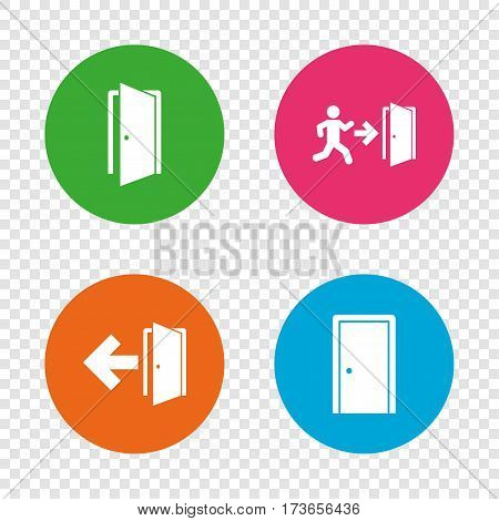 Doors icons. Emergency exit with human figure and arrow symbols. Fire exit signs. Round buttons on transparent background. Vector