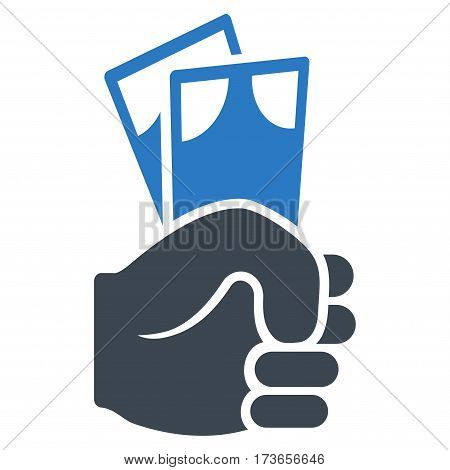 Banknotes Salary Hand vector icon. Flat bicolor smooth blue symbol. Pictogram is isolated on a white background. Designed for web and software interfaces.