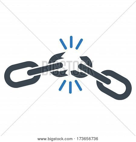 Chain Damage vector icon. Flat bicolor smooth blue symbol. Pictogram is isolated on a white background. Designed for web and software interfaces.