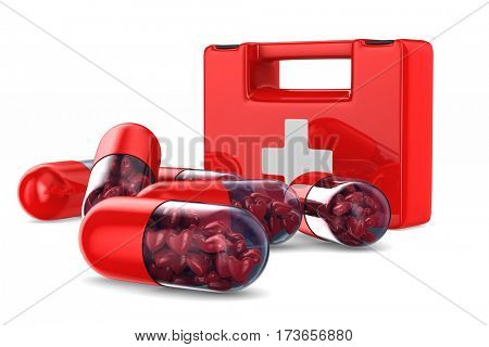 capsule with heart on white background. Isolated 3D image