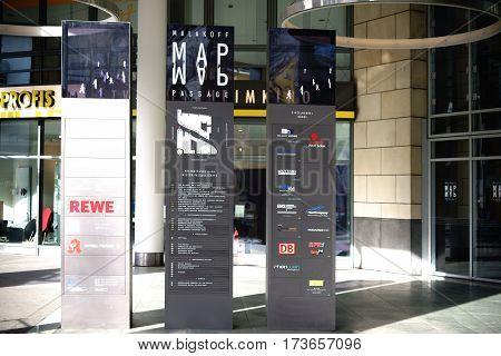 MAINZ, GERMANY - FEBRUARY 23: The entrance to the Malakoff Passage a modern office and shopping center with signpost and logo on February 23, 2017 in Mainz.