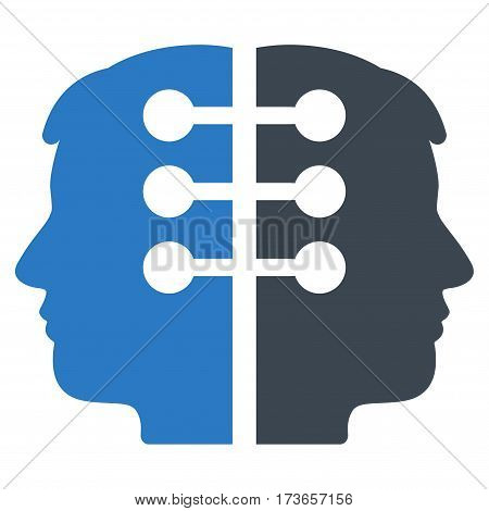 Dual Head Interface vector icon. Flat bicolor smooth blue symbol. Pictogram is isolated on a white background. Designed for web and software interfaces.