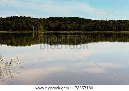 beautiful landscape with a lake on the other side there, calm water,  in water, scraps of vegetation, summer, processed, skyline, blue sky reflected in the calm water