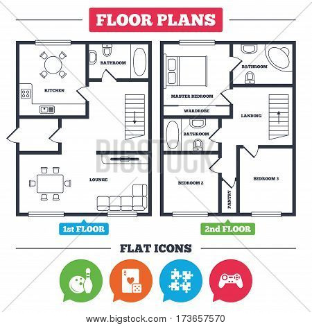 Architecture plan with furniture. House floor plan. Bowling and Casino icons. Video game joystick and playing card with puzzles pieces symbols. Entertainment signs. Kitchen, lounge and bathroom