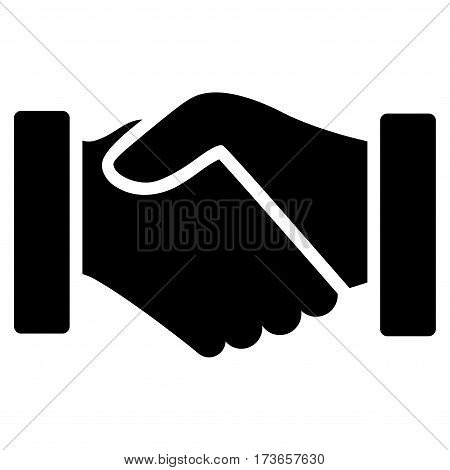 Acquisition Handshake vector icon. Flat black symbol. Pictogram is isolated on a white background. Designed for web and software interfaces.