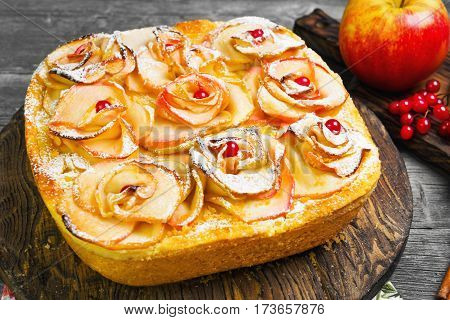 Fruit apple pie tartlet (cake). On top of the pie cake in shape of apples rose flowers. Fresh fruit apples for pie cake. Spice cloves star anise berries orange peel. Gray wood background.