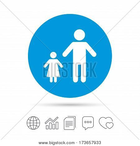 One-parent family with one child sign icon. Father with daughter symbol. Copy files, chat speech bubble and chart web icons. Vector