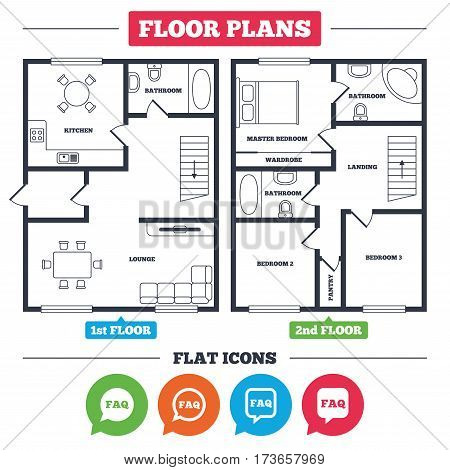 Architecture plan with furniture. House floor plan. FAQ information icons. Help speech bubbles symbols. Circle and square talk signs. Kitchen, lounge and bathroom. Vector