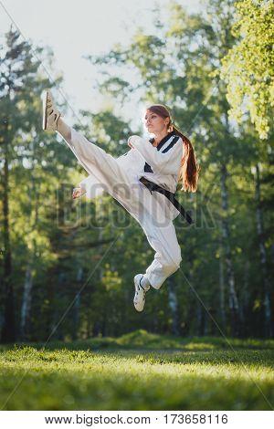 Karate woman practice martial art in outdoor