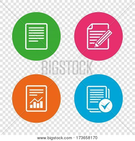 File document icons. Document with chart or graph symbol. Edit content with pencil sign. Select file with checkbox. Round buttons on transparent background. Vector