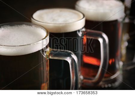 Glasses with beer, closeup