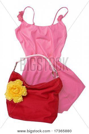 pink shirt red bag