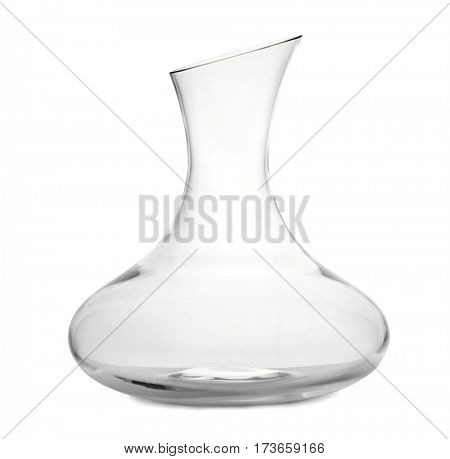 Empty glass decanter on white background