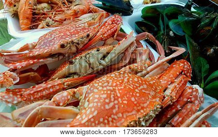 Seafood, crab, shrimp sauce Doughty. The evening atmosphere on the beach