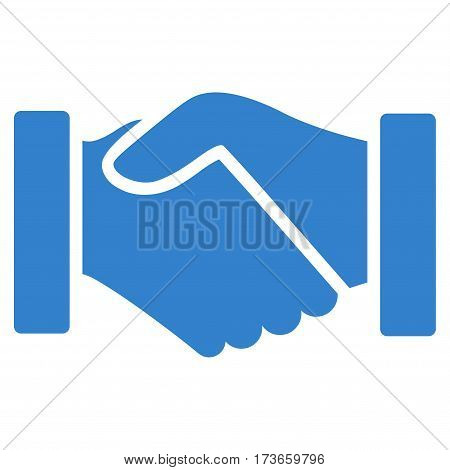 Acquisition Handshake vector icon. Flat cobalt symbol. Pictogram is isolated on a white background. Designed for web and software interfaces.