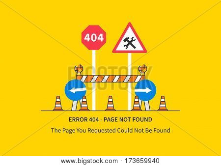 Error 404 page with road construction signs vector illustration. Broken web page graphic design. Error 404 page not found creative template.