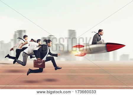 Businessman fly with rocket during a race with opponents. 3D Rendering