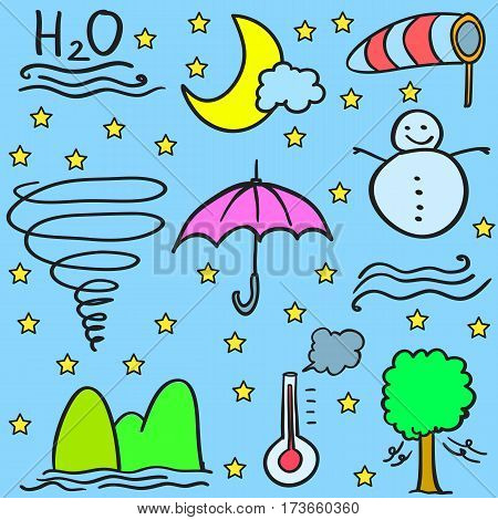 Doodle of weather object vector art collection stock