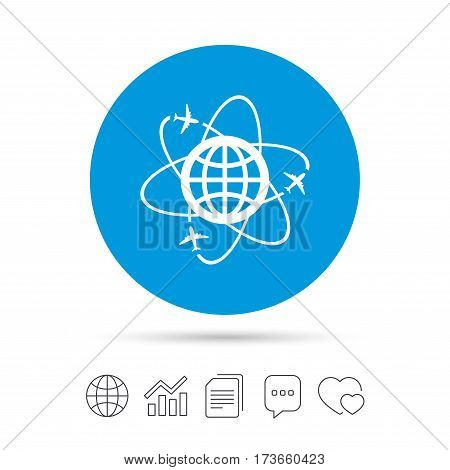 Globe sign icon. World logistics symbol. Worldwide travel flights. Copy files, chat speech bubble and chart web icons. Vector