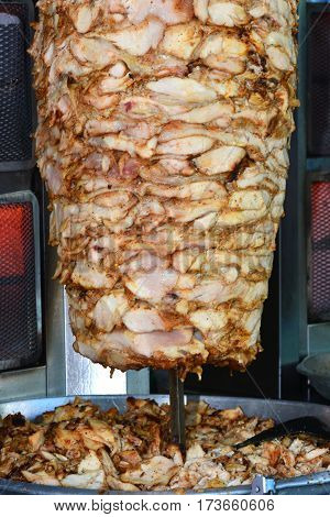 Grilled skewered lamb mutton a traditional meat served in shawarma or kebab sandwich in the Mediterranean Arab countries in Middle