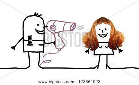 Cartoon people - Hairdresser an woman hairstyle