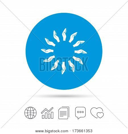 Donation hands circle sign icon. Charity or endowment symbol. Human helping hand palm. Copy files, chat speech bubble and chart web icons. Vector