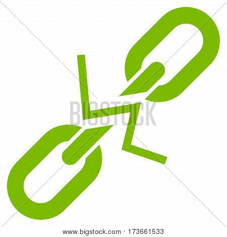 Broken Chain Link vector icon. Flat eco green symbol. Pictogram is isolated on a white background. Designed for web and software interfaces.