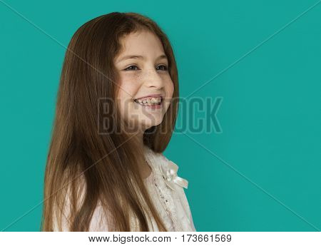 Young cheerful girl smiling isolated background portrait